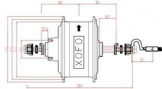 Габаритный чертеж двигателя для фэт байка 700 Вт