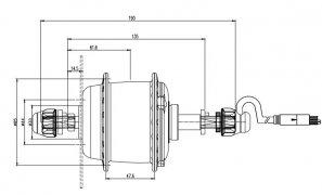 XOFO  SOFHNB-135  48V 180 Вт  миниатюрный двигатель для заднего колеса
